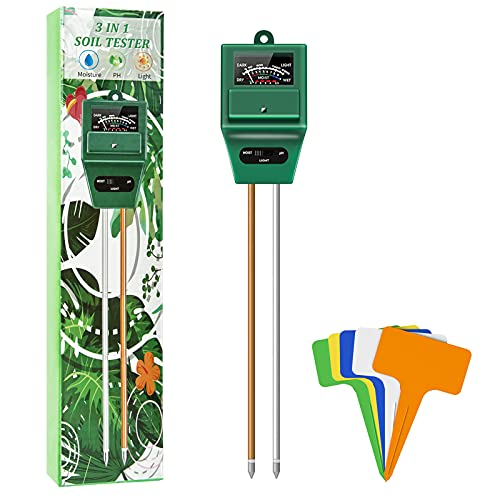 Ouddy 3-in-1 Soil Test Kit, Soil Meter for Measure Ph Moisture Light with Plant Label, Accurate Test Without Battery Suitable for Garden, Farms, Lawns, Indoor and Outdoor Potted Plants
