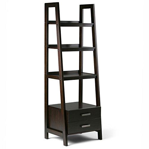 SIMPLIHOME Sawhorse Ladder Shelf, Dark Chestnut Brown