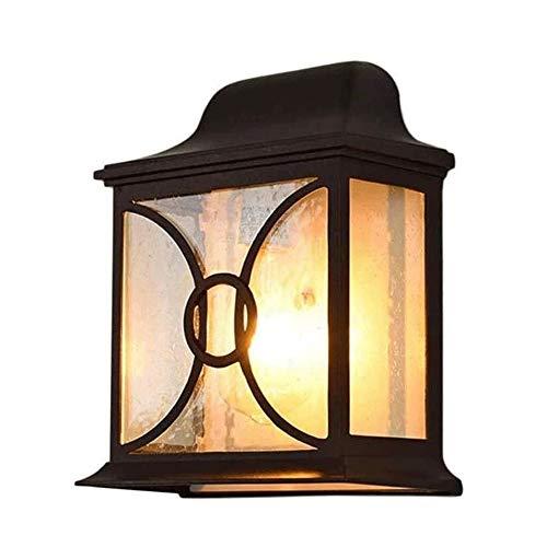 Exterior Lámpara de pared para exteriores para Jar Wall francés jardín rústico Granja de luz al aire libre, accesorio de bronce linterna Claro Seedy vidrio for casa exterior Porche Patio cubierta Gara