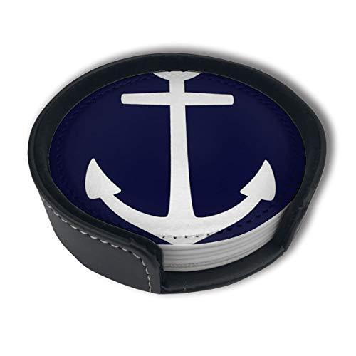OUYouDeFangA Juego de posavasos náutico azul marino con ancla de marinero con soporte, tazas redondas y tazas, almohadilla para bebidas, apto para el hogar y la cocina (6 unidades)
