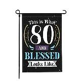 Jopath Bandera de 80 años de edad bendecida por Dios cumpleaños, 45,7 x 30,5 cm, decoración al aire libre, cartel de tela de doble cara similar al lino