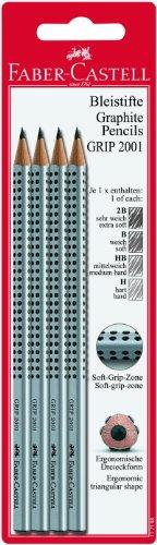 Faber-Castell 117198 - Bleistift GRIP 2001, 4er Packung enthält H, HB, B, 2B