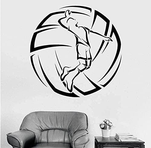 Pegatinas De Pared De Voleibol Pegatinas De Vinilo Para Jugadores Y Deportes De Pelota Pegatinas Para Ventanas Mural Estadio Vestuario Interior Art Deco Calcomanías Móviles 42X42Cm