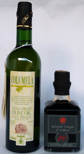 La Piana 20 Years Aged Balsamic Vinegar and Columela Extra Virgin Olive Oil paired set (8.4 Fl Oz Balsamico de Modena and 17 oz bottle of Extra Virgin Spanish Olive Oil)