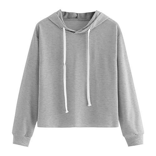 Sweat à capuche Femmes Automne et hiver, Toamen Sweat-shirt Manche longue Couleur unie Col rond Chemisier Tops Pull à capuche (XXL, Gris)