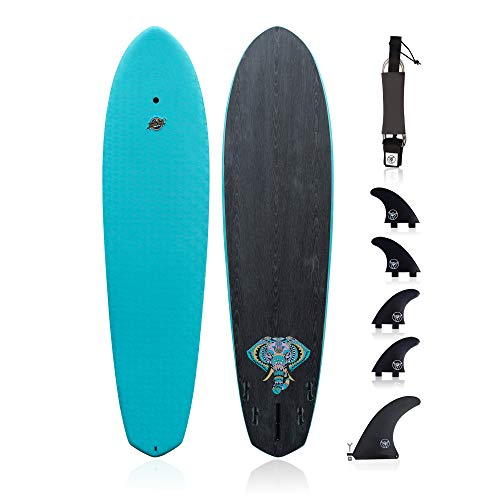 South Bay Board Co. Hybrid Surfboard (7'7' Funboard)-Wax-Free Textured Foam Top Deck & Glass Bottom Deck (6oz Fiberglass) with FCSII Boxes, Correct Fins, Key & 8' Leash-in Aqua, Black, Red from