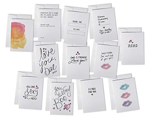 Romantic & Funny Love Notes Card Set - 24 Cards with Envelopes - 12 Cute & Sassy Designs for Valentines Day & Anniversaries