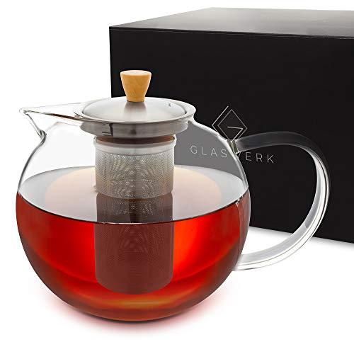 GLASWERK Teekanne aus Glas (1,8L) - Teebereiter mit edlem Holzgriff - Teekanne mit Siebeinsatz aus rostfreiem Edelstahl