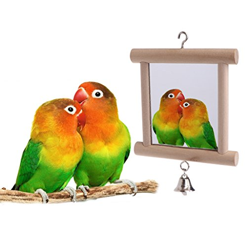 Hacloser Pet Bird Mirror with Bell, Wooden Swing Play Toys Double Side Mirror Hang On Cage for Parrot Budgies Parakeet Cockatiel Lovebird