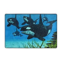 動物 クジラ カーペット ラグ 91×60cm 洗える 滑り止め付 1年中使えるタイプ 床暖房 ふわっと手触り