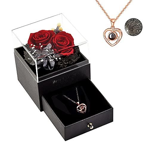 Roqueen Rosa Eterna, Rosa Preservada con Collar Hecha a mano Rosa Siempre, Regalos para Novia Esposa Madre para día de San Valentín Día de la Madre Boda Aniversario Cumpleaños Navidad