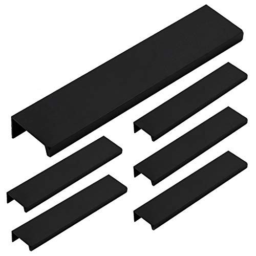 LICTOP 15cm/5.9' Black Aluminum Home Kitchen Cabinets Drawers Collection Long Center Finger Edge Pull Tab Handle(6Pcs)