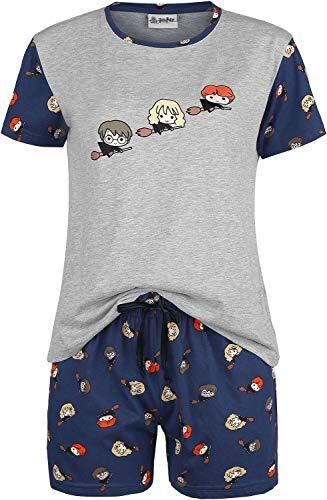 HARRY POTTER Chibi Quidditch Mujer Pijama Azul/ Gris S, 70% Poliester, 30% algodón, 15