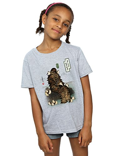 Star Wars Mädchen The Last Jedi Japanese Chewbacca Porgs T-Shirt 12-13 Years Sport Grey