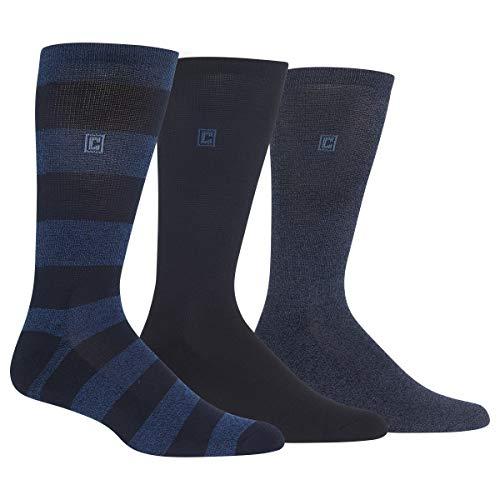 Chaps Men's Marled Rugby Crew Socks 3 Pair, navy, denim, Shoe Size: 6-12