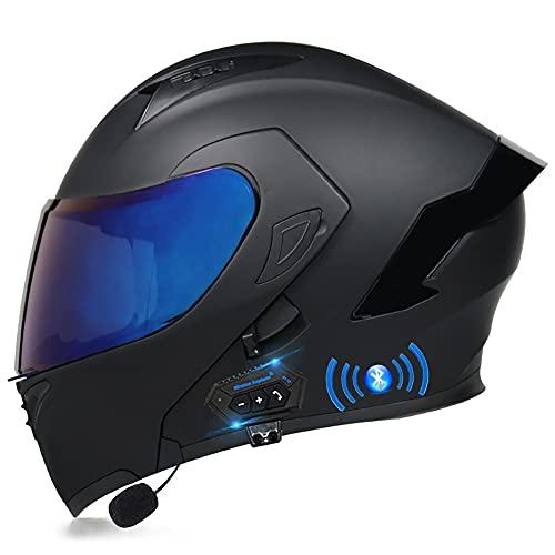Casco de Moto Modular Bluetooth Integrado Cascos Moto con Respuesta Automática con Certificación ECE con Gafas De Protección Casco de Motocicleta para Hombres Mujeres 55~60cm