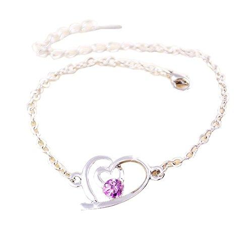 Bijoux Améthyste Bracelet Bijoux Fashion en forme de coeur en or rose Bracelet