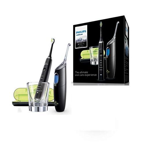 Philips Sonicare HX8491/03 Spazzolino Elettrico DiamondClean con Tecnologia Sonica + Sistema di Pulizia Interdentale AirFloss Ultra, Nero