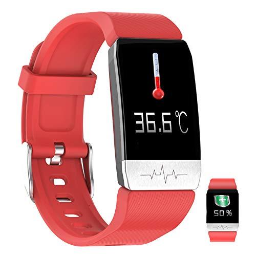 APCHY GPS Reloj Inteligente,Rastreador De Fitness De Temperatura Corporal ECG Ritmo Cardíaco Presión Arterial Sangre Oxygen Sueño Ejercicio Recordatorio De Llamadas Entrantes Sportwatch,Rojo