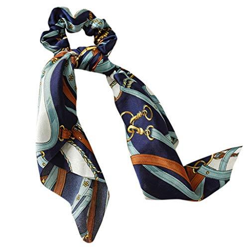 Mikiya dames-haarband met afneembare strikken, vintage, geometrische ketting, gestreept, bedrukt, bandana, paardenstaart, haarelastiekjes