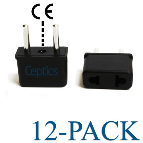 Ceptics USA to Europe Asia Plug Adapter - CE Certified - RoHS Compliant -12 Pack