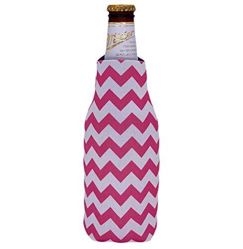 Chevron Stripe Beer Bottle Coolie (1, Pink)