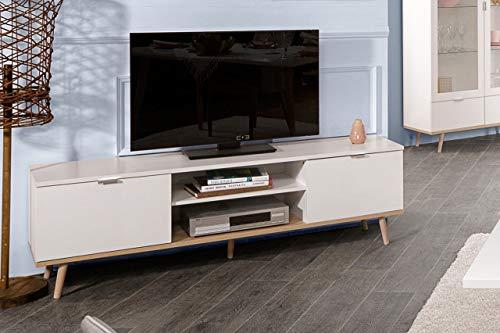 lifestyle4living Lowboard in weiß, TV-Board mit Unterbau in Sonoma Eiche-Dekor, Füßen in Esche massiv, Fernsehtisch mit viel Stauraum, 2 Türen und 2 offene Fächer