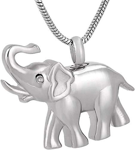Collar Para Cenizas Memorial Lindo Elefante Recuerdo Urna Colgante Collar Ceniza Collar Funeral 1Pcs Plata