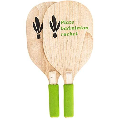 Huachaoxiang Set de Juegos de Bola de Paleta, Tenis de Playa y Tono badmint Tono Bat de paletas de murciélago de Madera Juego de paletas de murciélago de Madera Juego al Aire Libre,Verde