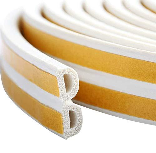 隙間テープ 防風防水防音 引き戸 扉 窓 玄関用すきまテープ シールテープ 防音戸当たり 省エネ 冷暖房効率アップ 強力粘着 D型 ホワイト(1巻入)(10m)