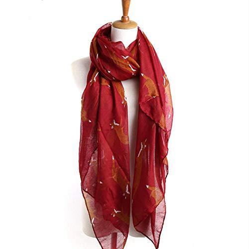 Damenschal Fashion Korean Balinese Pattern Fuchsschal Schal - Weinrot_180 * 90Cm