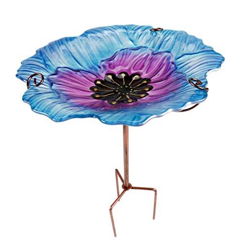 ArtiCasa Vogeltränke BZW. Vogelbad aus Glas und Eisen, freistehend und im Boden zu verankern, Höhenverstellbar, Größe (HxØ) ca. 64 x 31 cm, 3 Versionen (Blau/Lila)