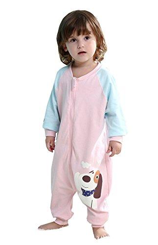 Chilsuessy Baby Sommer Schlafsack mit Füßen kleine Kinder Schlafanzug fuer Für Jungen und Mädchen von 75cm-105cm (Mehrfarbig), Rosa Hund, Etikett90/Koerpergroesse 85-95cm
