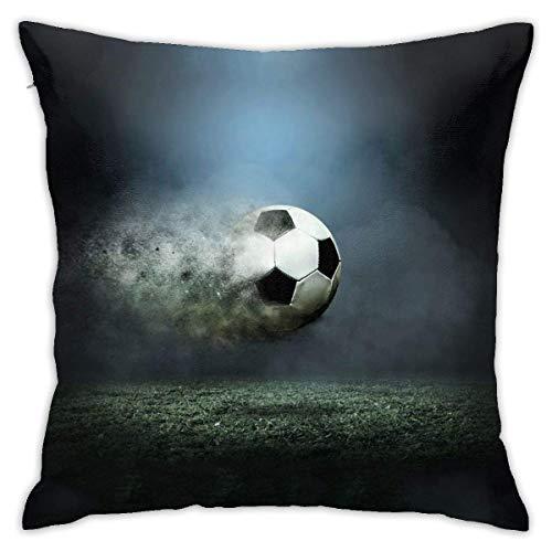 Hangdachang - Funda de almohada personalizada, diseño de balón de fútbol para coche, sofá, hogar, 45,4 x 45,8 cm