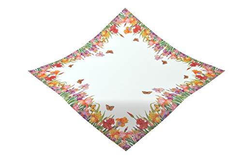 Kamaca Serie Schmetterlingswiese hochwertiges Druck-Motiv mit wundervollen Blumen und Schmetterlingen - EIN Schmuckstück auf jedem Tisch in Frühling Sommer (Tischdecke 85x85 cm rot bunt)