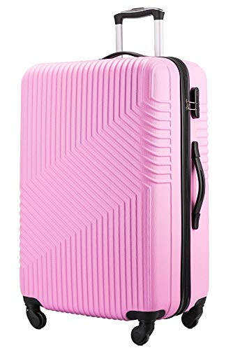 Flymax 24' Medium Suitcase Super Lightweight 4 Wheel Spinner Hard Shell ABS Luggage Hold Check in Travel Case Pink