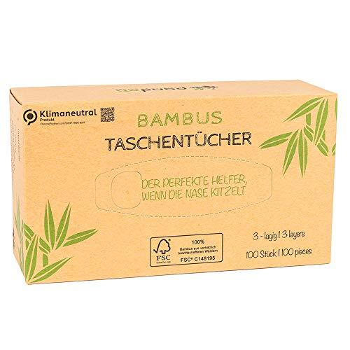 Pandoo 100% Bambus Taschentücher – trocken - Holzfreies Taschentuch in plastikfreier Verpackung. 100 Blatt - 3-lagig. Perfekt für jede Nase.