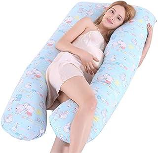 almohada para abrazar, 130x72cm Funda de almohada para embarazadas Tipo U Algodón Multifunción Dormir lateral Proteger a las mujeres Embarazadas Funda de almohada, azul, almohadas frías para dorm