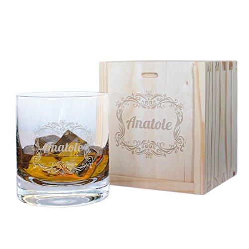 Cofanetto bicchiere da whisky cornice personalizzato con incisione del nome