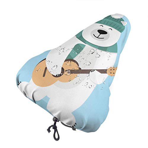 Fall Ing Funda de Asiento de Bicicleta Teddy Bear Holding Guitar Protective Sun and Rain Resistant Bike Saddle Cushion