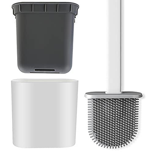 Toilettenbürste, Silikon-Toilettenbürste und Behälter, Toilettenbürste mit Halter, Wandmontage und stehend für Badezimmer mit schnell trocknendem Halter-Set (weiß)