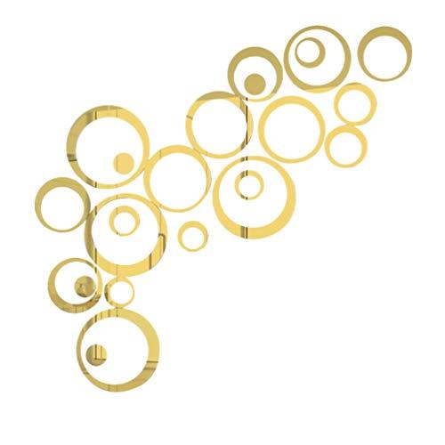 BESPORTBLE 1 Juego de Pegatinas de Pared de Espejo de Acrílico 3D Pegatinas de Calcomanías de Espejo de Círculo para Decoración de Sala de Estar del Dormitorio del Hogar (Dorado)
