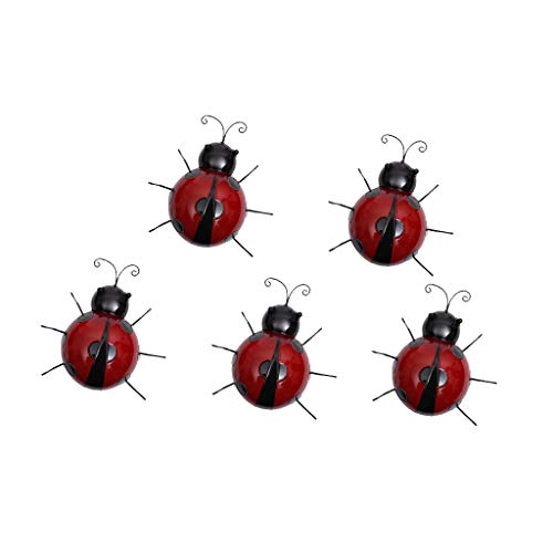 SM SunniMix Décor de Coccinelle Objets de Décoration Micro Paysage Insectes - Rouge 5pcs