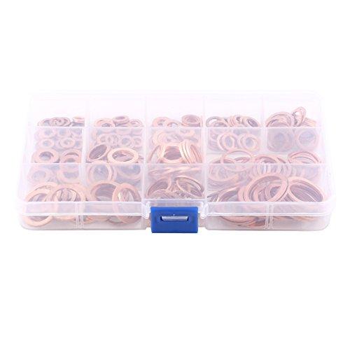 Unterlegscheiben, 280 Stück Kupferdichtringe Kupfer Flache Scheibe Flache Dichtring Sortiment Kit mit Box passend für Schrauben Schrauben Verbindungselemente (12 Größen)