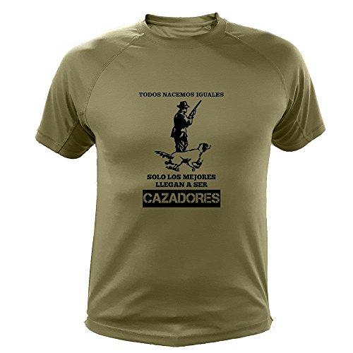 Camisetas Personalizadas de Caza, Todos nacemos Iguales, Cazador - Ideas Regalos (30139, Verde, XL)