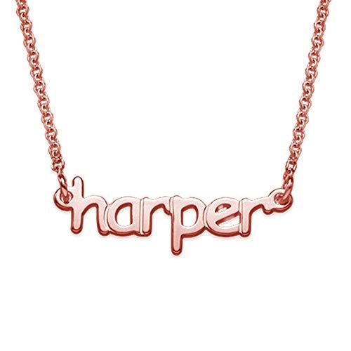 Regalo personalizzato di compleanno delle signore degli uomini della collana di nome personalizzato di modo(rosa-dorato-base 16)