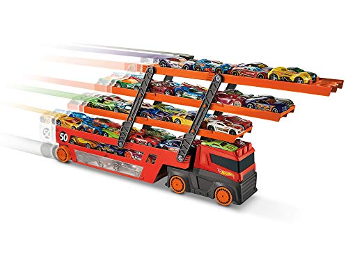 Hot Wheels Mega Trasportatore con Livelli Espandibili, Porta fino a 50 Macchinine, Gioco per Bambini di 3 + Anni, GHR48, Imballaggio Standard