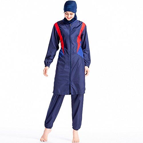 Bescheiden badmode moslim dames badpak met hijab grote maten zwemkleding volledige dekking 3 stuks S003