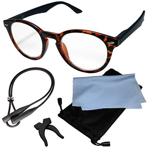 (ジャパナイス)JapaNice 両手が使える メガネ型 拡大鏡 1.4倍 ルーペ グラス 5点セット BO025-19 (1.4倍 ブラウンマーブル×ブラックフレーム)