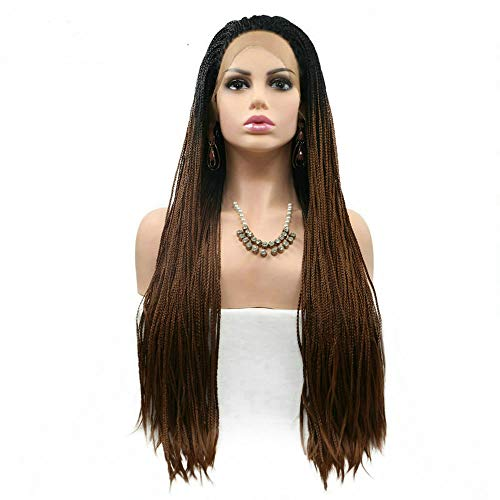 Afro America Box Braided Wigs Black Roots Ombre Medium Brown Synthetic Lace Front Wigs for Women Cosplay Party Long Braids Hair Half Hand Tied RainaHair 26inches